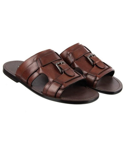 GOVERNORS FULL PLEGDE BUCKLE SLIPPERS - BROWN