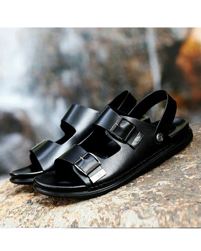 GOVERNORS DOUBLE BUCKLE LEATHER SLIDE SANDALS