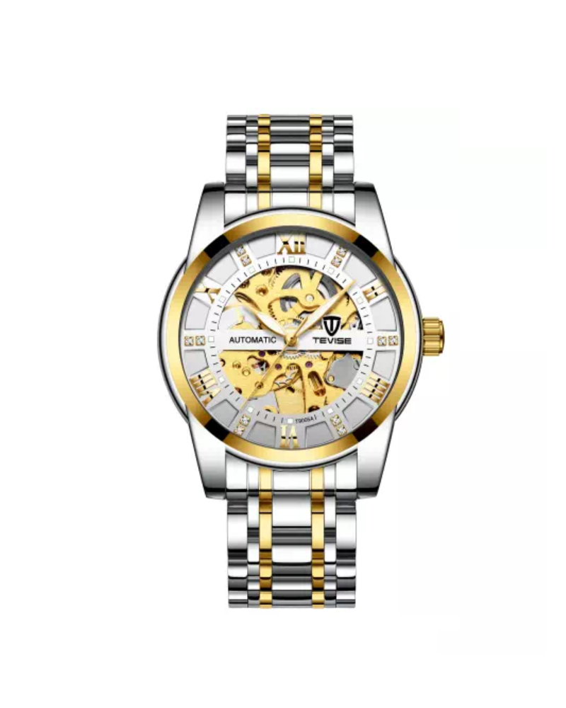 Gold/Silver Luxury Skeleton Business Watch - Mechanical Movement (PRE ORDER ONLY)