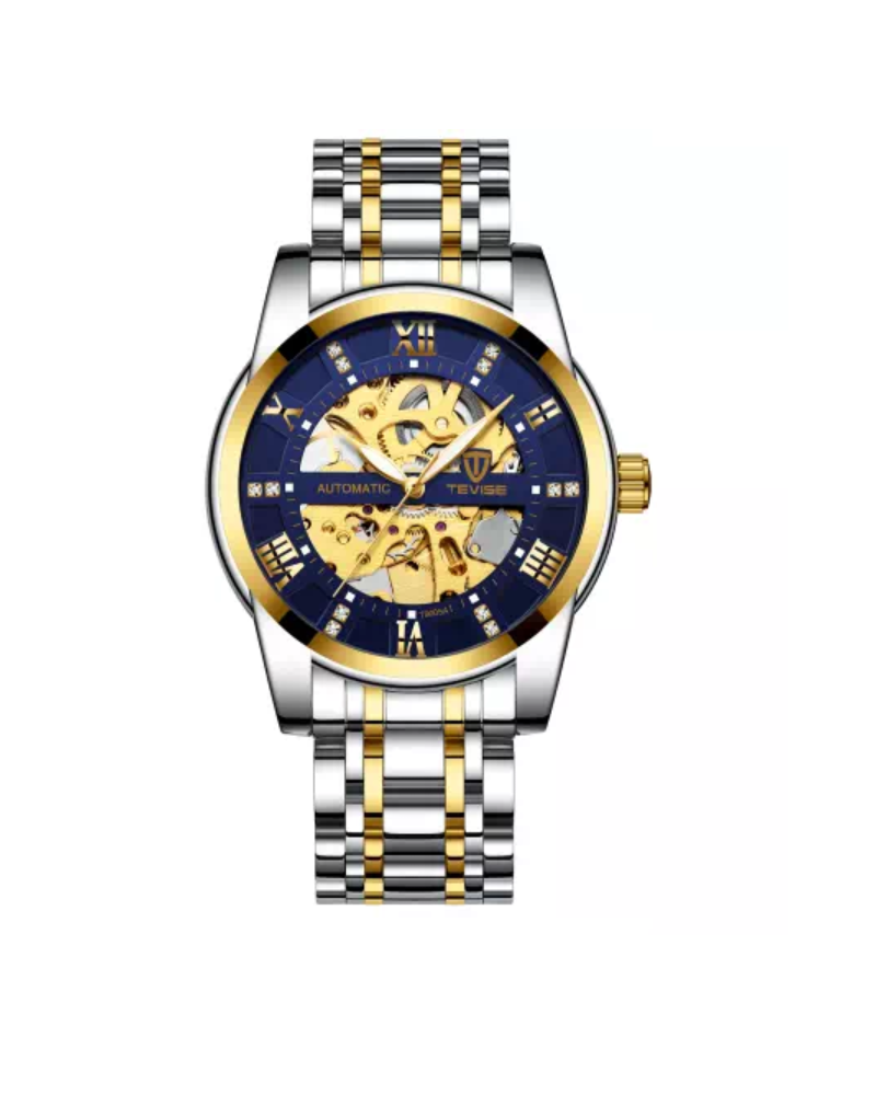 Gold/Silver Blue Dial Detail Luxury Business Watch - Mechanical Movement