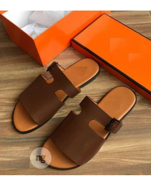 Brown Buckle Detail Slides