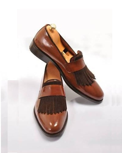 Brown Finger Tassel Loafer shoe for Men