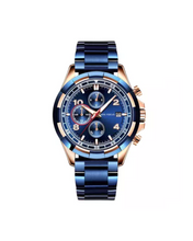 Blue and Gold Round Dial watch