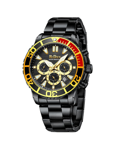 BIDEN SUBMARINE HOMAGE LUXURY WATCH - BLACK AND MULTIDIAL DETAIL (PREORDER ONLY)