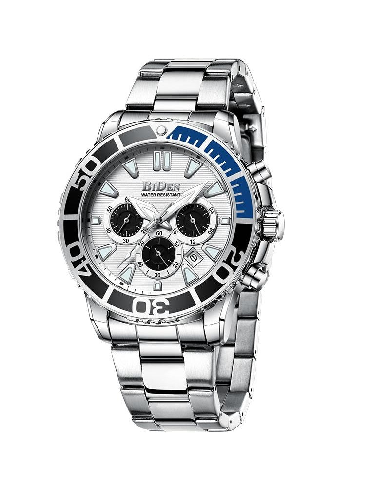 BIDEN SUBMARINE HOMAGE LUXURY WATCH - SILVER WITH BLUE DETAIL (PREORDER ONLY)