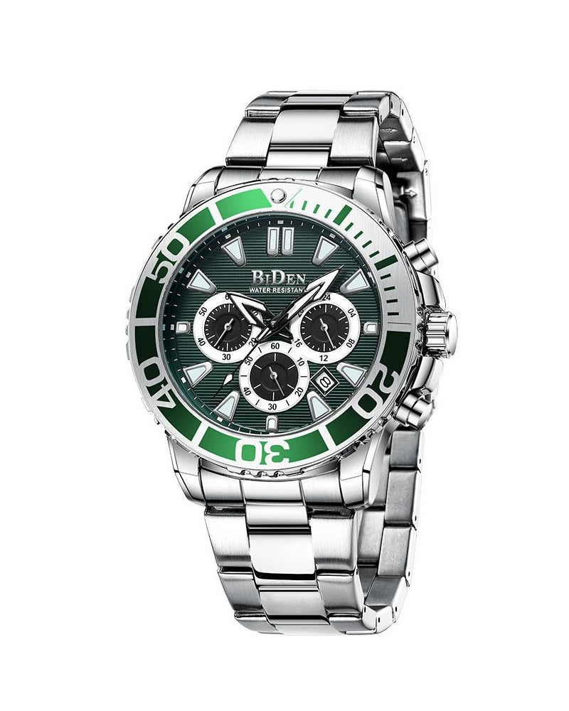 BIDEN SUBMARINE HOMAGE LUXURY WATCH - SILVER WITH GREEN DETAIL (PREORDER ONLY)