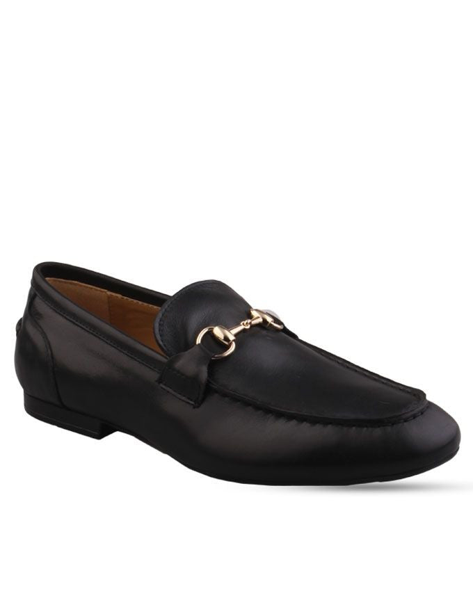 Black Loafers shoes with Horsebit chain detail