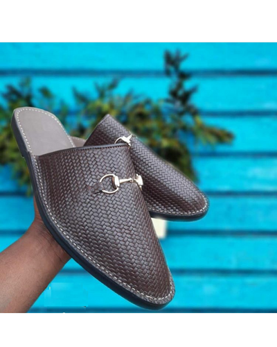 BASKET NET LEATHER SIMPLE HALF SHOE SLIP-ONS