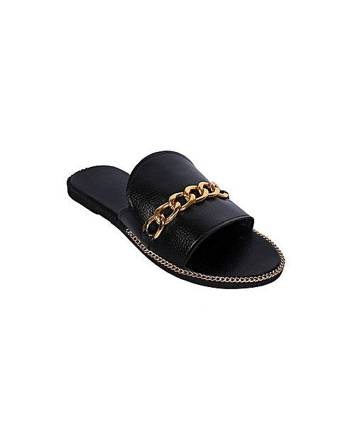 Chained Leather Slippers - Black