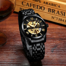 Automatic ALL Black Luxury Skeleton Business Watch - Mechanical Movement