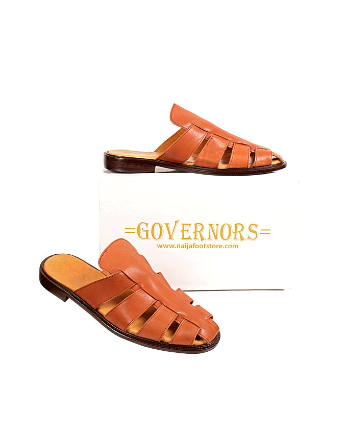 ALL BROWN GLADIATOR HALF SHOE MULES