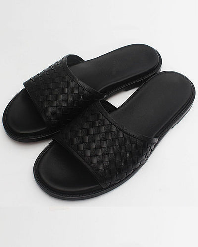 WEAVED CROSS LEATHER SLIPPERS
