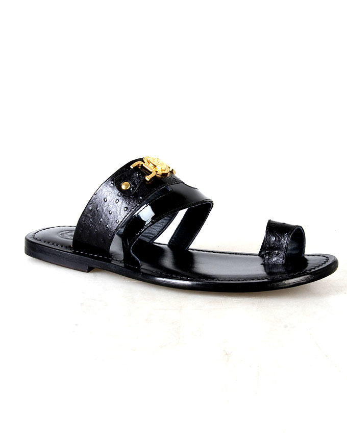 Snake Skin Patent Black Leather Slippers for Men