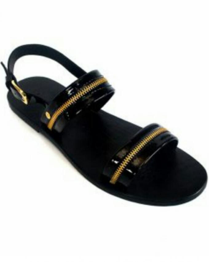 Patent Leather Zipper Sandals for Men