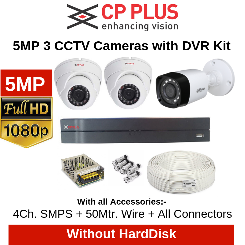 CP Plus 5MP 3CCTV Cameras with DVR Combo Kit