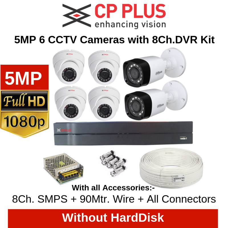 CP Plus 5MP 6CCTV Cameras with 8Ch. DVR Combo Kit