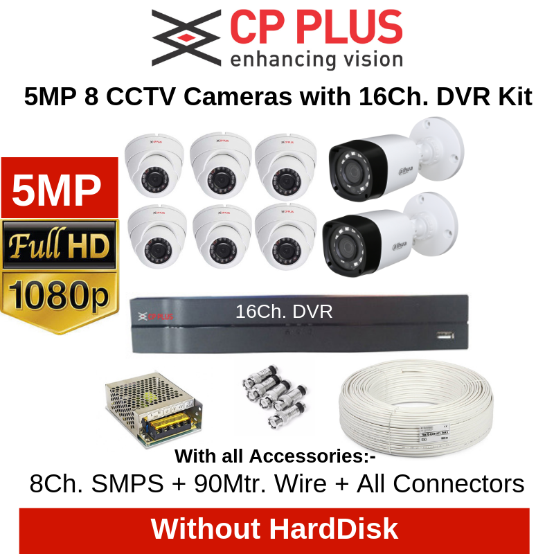 CP Plus 5MP 8 CCTV Cameras with 16Ch. DVR Combo Kit