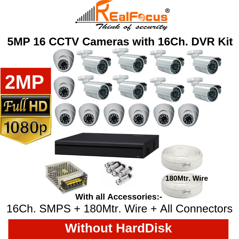 Realfocus 2MP FullHD 16 CCTV Cameras with 16Ch. DVR Kit