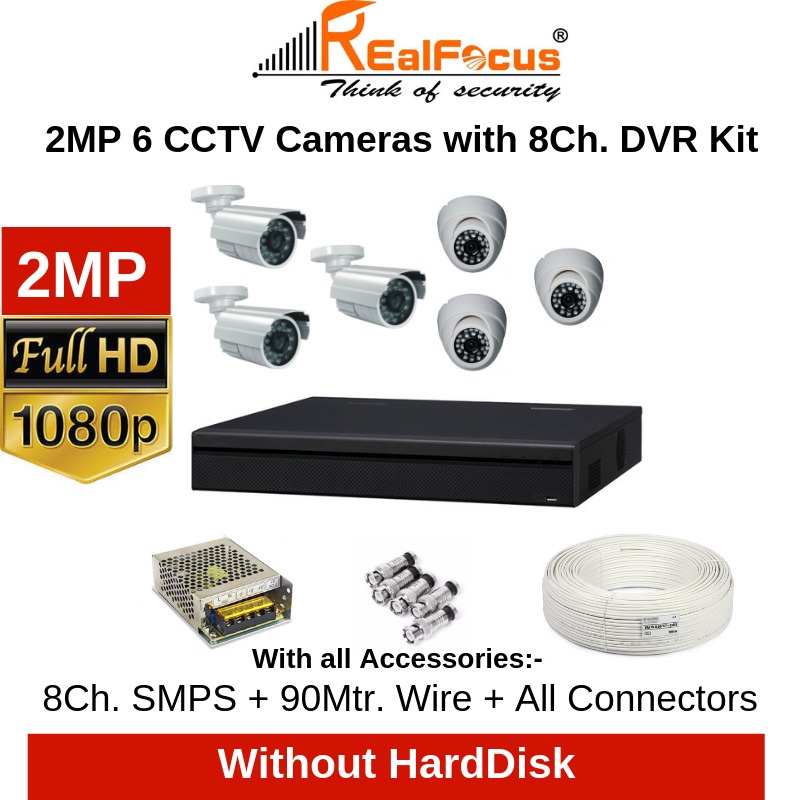 Realfocus 2MP FullHD 6 CCTV Cameras with 8Ch. DVR Kit