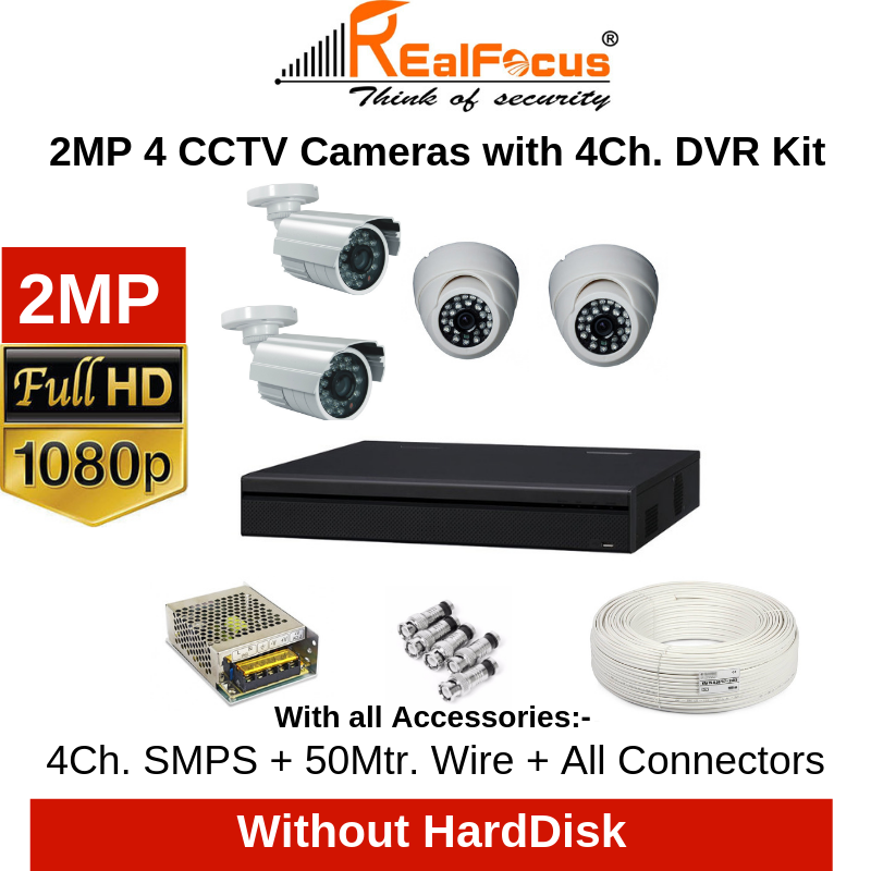 Realfocus 2MP FullHD 4 CCTV Cameras with 4Ch. DVR Kit