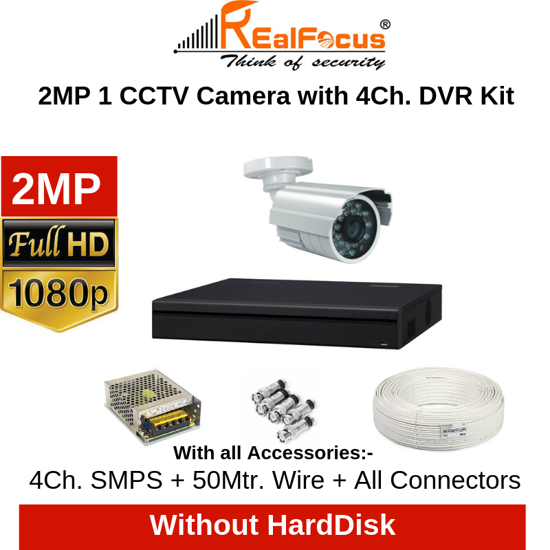 Realfocus 2MP FullHD CCTV Camera with 4Ch. DVR Kit