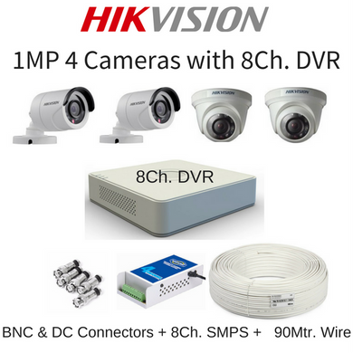Hikvision 1MP 4 Cameras with 8Ch. DVR Combo Kit
