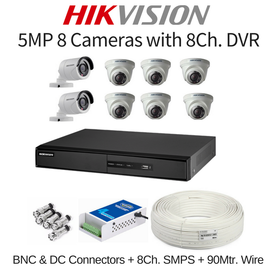 Hikvision 5MP 8 Cameras with 8Ch. DVR Combo Kit