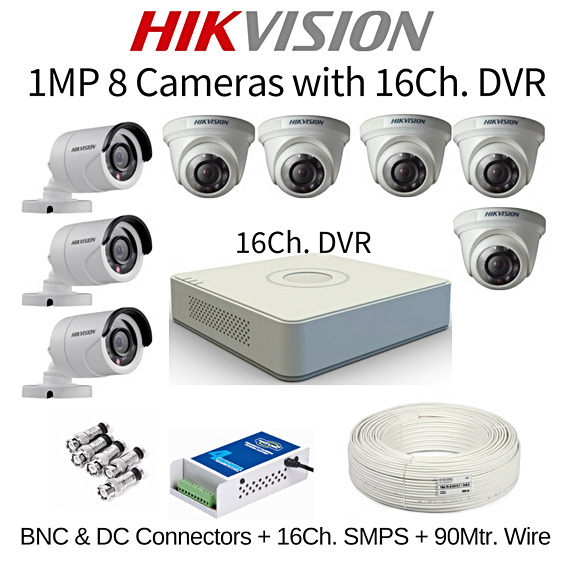 Hikvision 1MP 8 Cameras with 16Ch. DVR Combo Kit