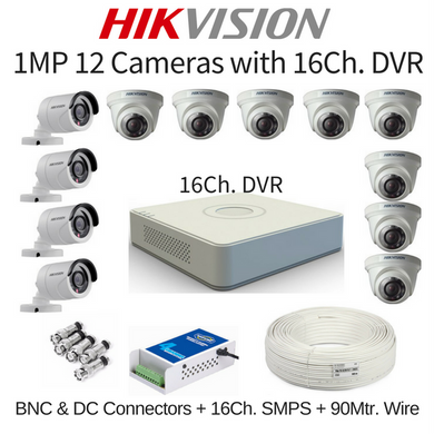 Hikvision 1MP 12 Cameras with 16Ch. DVR Combo Kit