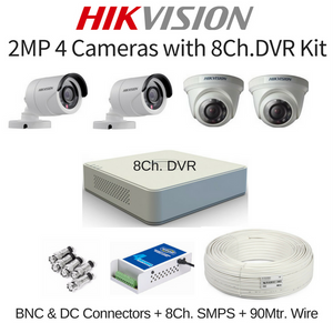 Hikvision 2MP 4 Cameras with 8Ch. DVR Combo Kit
