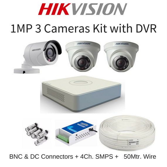 Hikvision 1MP 3 Cameras with DVR Combo Kit