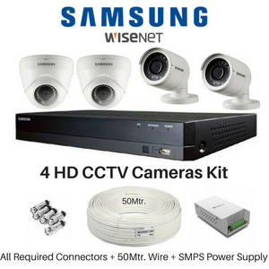 Hanwha Samsung 4 FullHD CCTV Cameras and DVR Kit - Security System Store