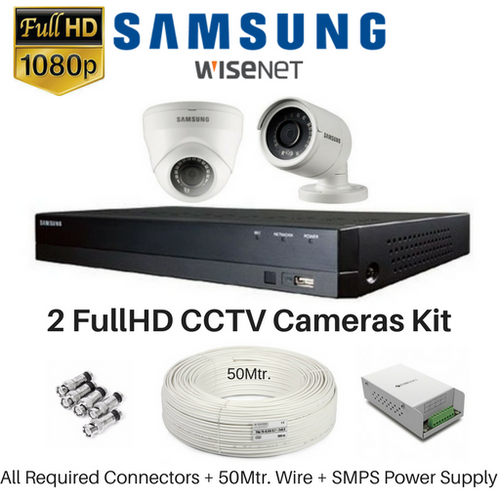 Samsung Hanwha 2 FullHD CCTV Cameras with 4Ch. DVR Kit - Security System Store