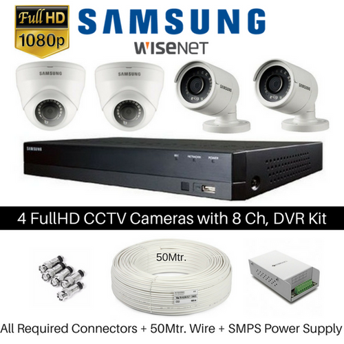 Hanwha Samsung 4 FullHD CCTV Cameras with 8Ch. DVR Kit - Security System Store