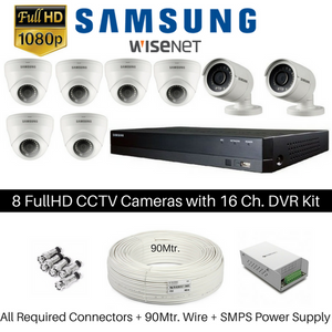Hanwha Samsung 8 FullHD CCTV Cameras with 16Ch. DVR Kit - Security System Store