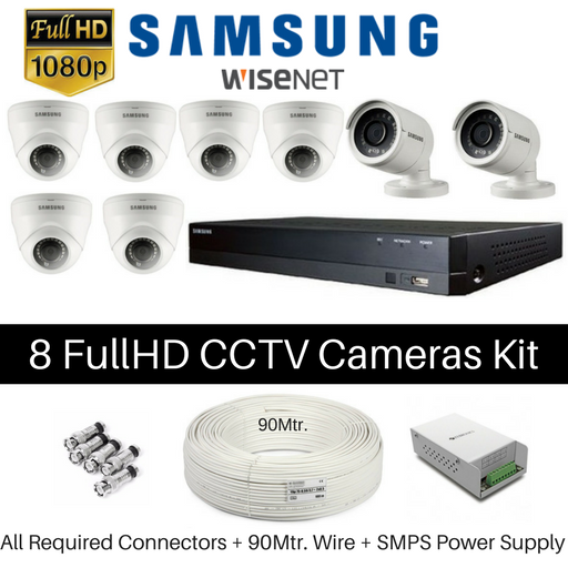 Hanwha Samsung 8 FullHD CCTV Cameras with DVR Kit - Security System Store