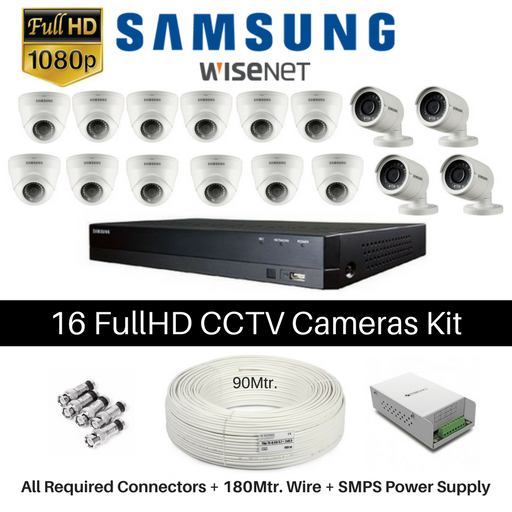 Hanwha Samsung 16 FullHD CCTV Cameras with 16Ch. DVR Kit - Security System Store