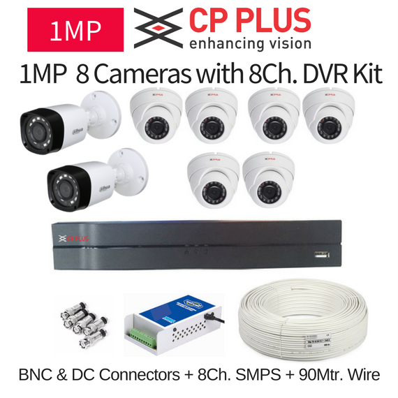CP Plus 1MP 8 CCTV Camera with 8Ch. DVR Kit with All Accessories