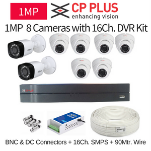 CP Plus 1MP 8 CCTV Camera with 16Ch. DVR Kit with All Accessories