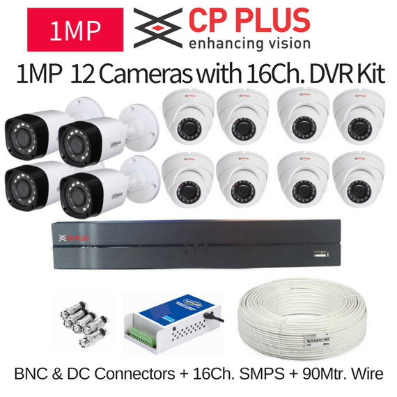 CP Plus 1MP 12 CCTV Camera with 16Ch. DVR Kit with All Accessories