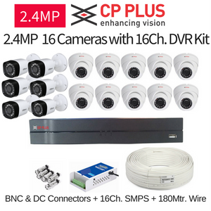CP Plus 2.4MP FullHD 16 CCTV Cameras with 16Ch. DVR Kit with All Accessories