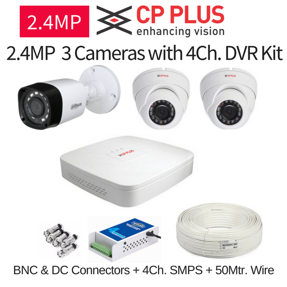 CP Plus 2 4MP FullHD 3 CCTV Camera with DVR Kit with All Accessories