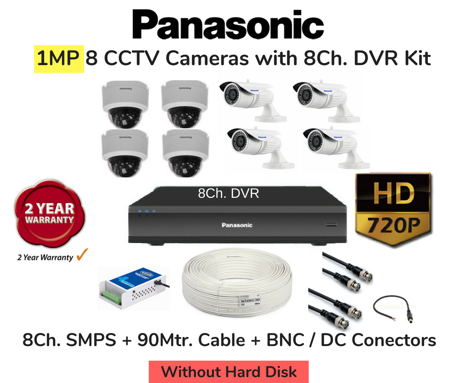 Panasonic 8 HD CCTV Cameras (1MP) with 8Ch. DVR Combo Kit