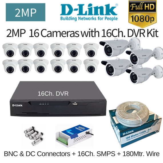 D-Link 2MP 16FullHD CCTV Cameras with 16Ch. FullDVR Combo Kit - Security System Store