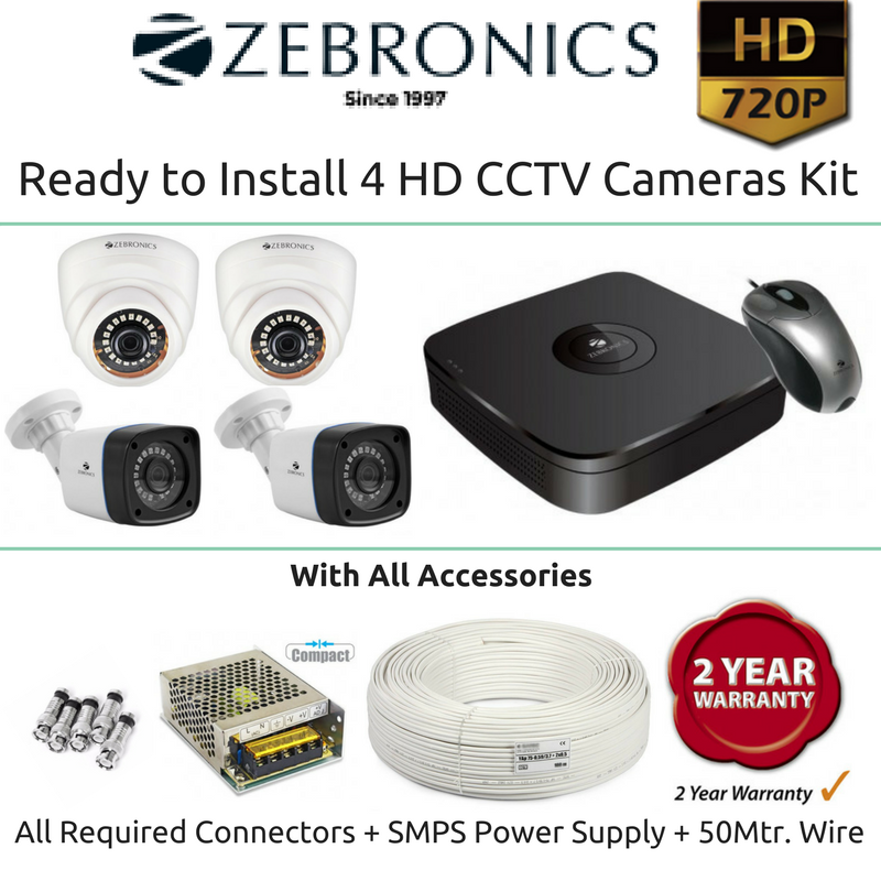 Zebronics 4 HD CCTV Cameras with 4Ch. DVR Kit (1MP) - Security System Store