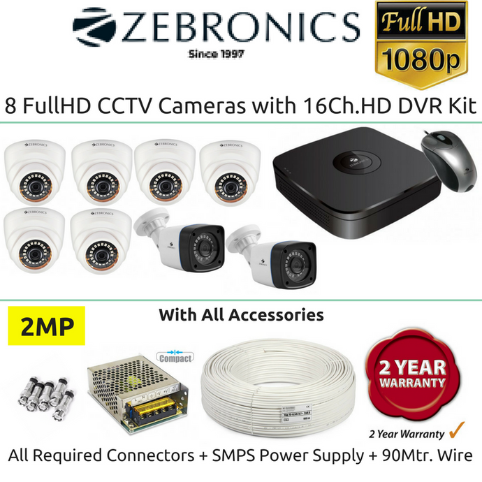 Zebronics 8 FullHD CCTV Cameras with 16Ch. DVR Kit (2MP) - Security System Store