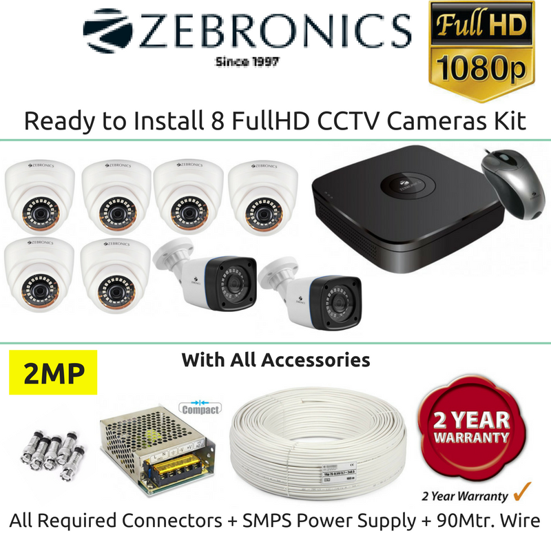 Zebronics 8 FullHD CCTV Cameras with 8Ch. DVR Kit (2MP) - Security System Store