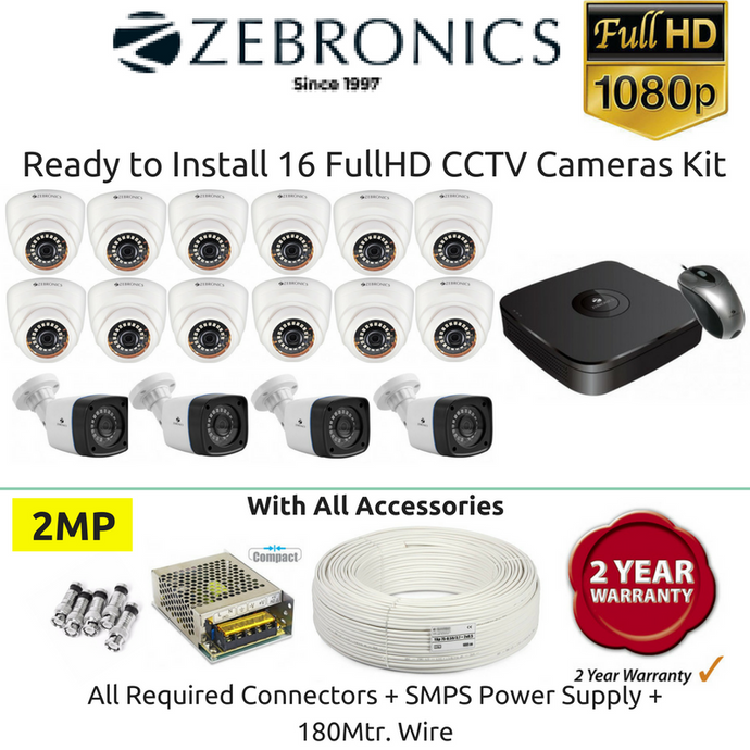Zebronics 16 FullHD CCTV Cameras with 16Ch. DVR Kit (2MP) - Security System Store