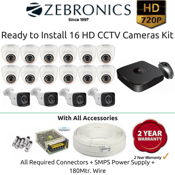 Zebronics 16 HD CCTV Cameras with 16Ch. DVR Kit (1MP) - Security System Store