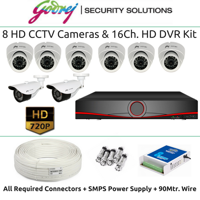 Godrej 8 HD CCTV Cameras & 16Ch. DVR Kit (1MP) - Security System Store